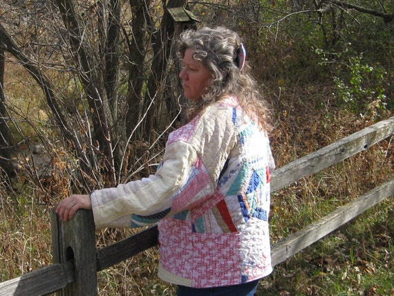 Vintage Quilt Clothing Pullover Jacket Coat Handmade OOAK Rustic Farmhouse Country Glamping Clothes