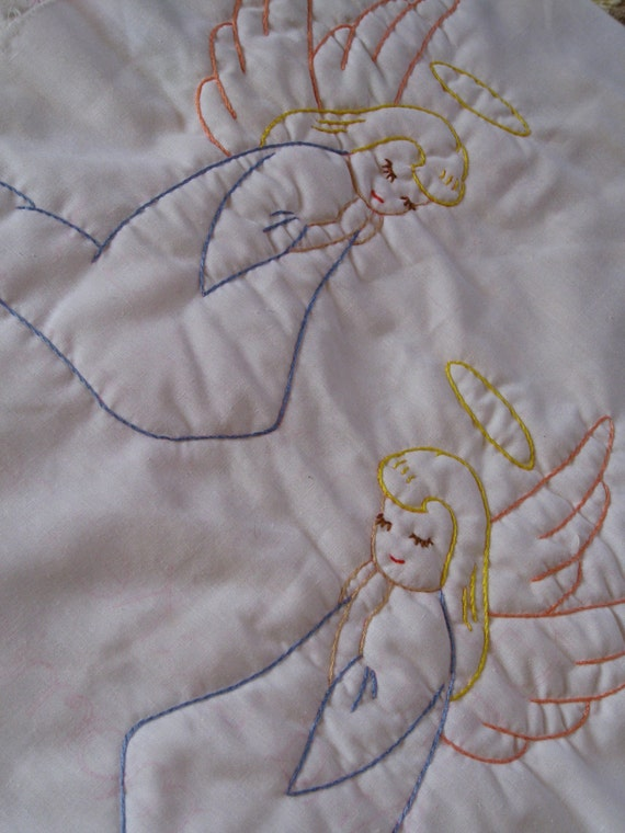 2 Quilt Blocks Unfinished Kit Embroidery Lot Angel Prayer Childs Children 2 Pieces Now I Lay Me Down To Sleep