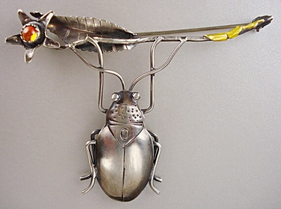 Beetle with Flower Pin