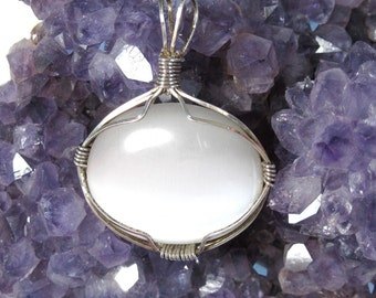 Wire Wrapped White Cats Eye and Sterling Silver Pendant