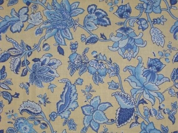 Blue Jacobean Floral Print Cotton Fabric on Yellow