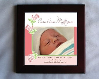 Personalized Birth Announcement Tile in Wood Trivet Frame (Design - Girl1)