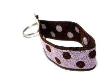 Key Fob Wristlet Stretchy Pink and Brown Keyholder Size Small Pale Pink with Brown Dots Stretch Fob Keychain Organizer
