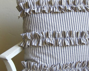 Ruffled blue ticking stripe pillow cover