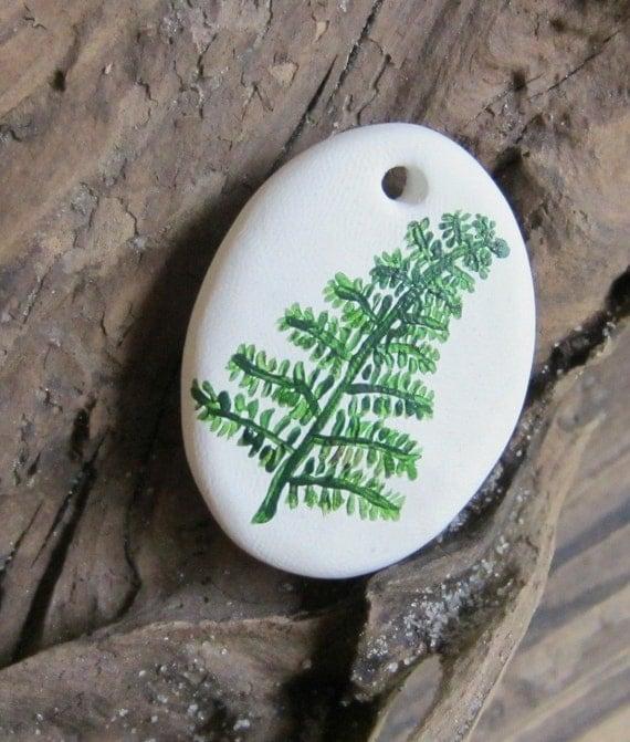 Handpainted fern ornament
