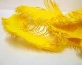 YELLOW Feathers - handmade of paper - set of 25