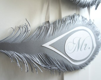 Mr. and Mrs. Wedding signs FEATHERS  in silver