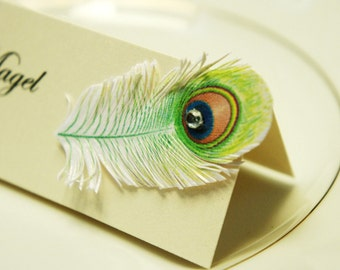 Wedding table name cards | with Peacock Feather and rhinestone decor | name print included