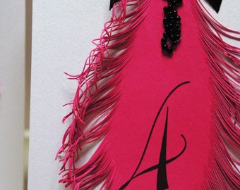 Hot Pink Wedding Table Numbers, cards with feather and black bow