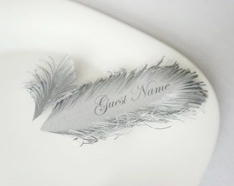 Silver feather wedding place card's | Winter wedding name cards | With guest name on
