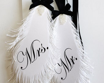 Mr & Mrs Wedding Signs FEATHER's in Black and White