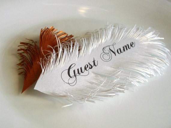 Feather place cards - handmade of iridescent White paper, Name Printing Included