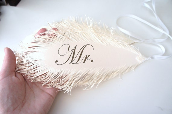 Mr & Mrs Wedding Signs FEATHER's in ivory