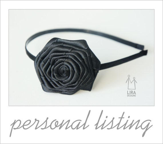 Personal Listing for Holly  flowers rosettes head pieces in Black