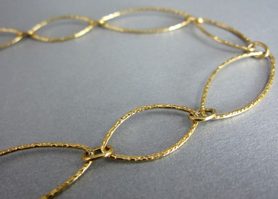 Large Link Finished Chain, 14k Gold Filled Marquise Links Necklace, 30 Inch
