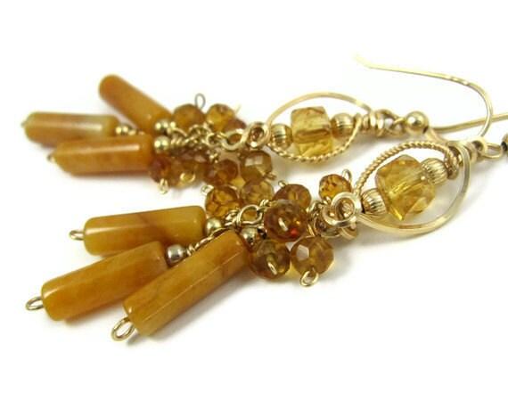 Golden Honey Yellow Citrine and Jasper 14k Gold Filled Gemstone Earrings, Elegant Long Wire Wrapped Dangle Glam Earrings