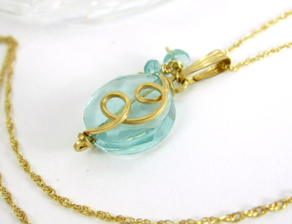 Aquamarine Gold Filled Chain Necklace, Small Light Blue Gemstone Birthstone Pendant, Gift for Her