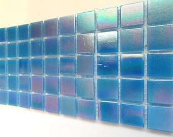 3/4 in. Turquoise Blue Iridescent Vitreous Glass Mosaic Tiles// Mosaic//Mosaic Supplies