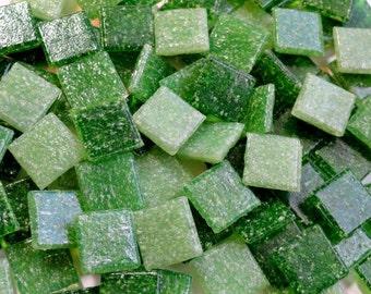 100 Mini Green Mix Vitreous Glass Mosaic Tiles, Mosaics, Mosaic Supplies/Crafts