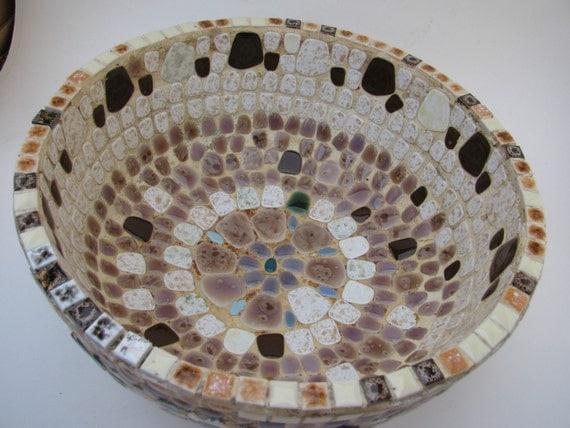 1960s Handmade Mosaic Large Tile Bowl