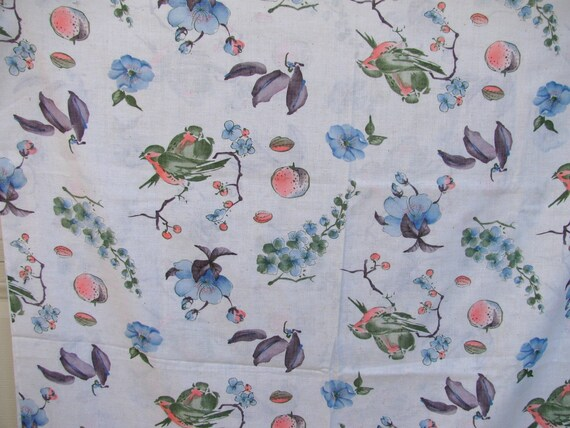Beautiful Vintage Linen / Cotton Fabric with Asian Inspired Birds Fruit Flowers - 2 2/3yrds