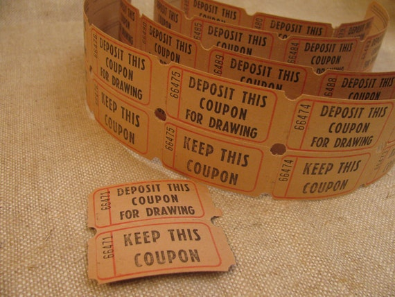 Vintage 15 Pairs Numbered  Raffle Drawing Tickets