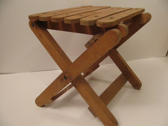 childs wood folding stool handmade kid size children chair seat