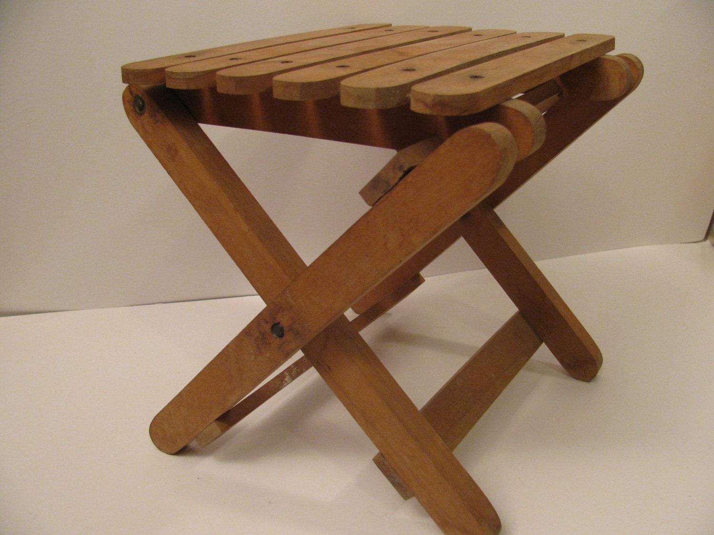 Childs Wood Folding Stool Handmade Kid Size Children Chair