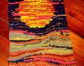 70's Vintage  madmen orange- Home Decor Wall Hanging Sun wall art hippie hemp art