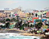 Vintage Beach Photography- pastel -Ocean photography Cityscape Vintage metallic photography- Old San Juan -5 x 7 fine art photograph