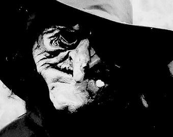 HALLOWEEN art Halloween home decor black and white witch decor photograph 5 X 7