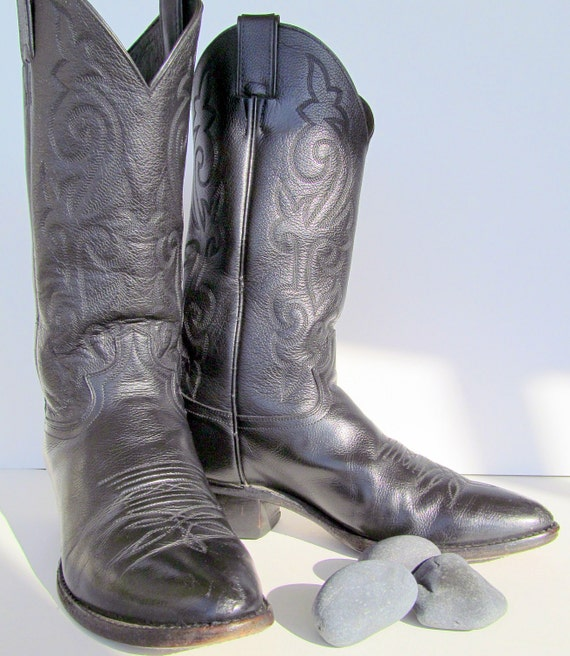 Womens Cowboy Boots Black Justin vintage leather rockabilly or steampunk  womens size 9 mens size 8