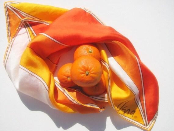Tangerine Color Block Scarf ,  Yellow Orange, Geometric Vintage Vera 70s FREE Shipping Worldwide