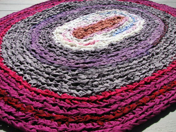 Handmade Oval Rag Rug oval CROCHET Magenta hot pink gray chestnut brown -Shabby Chic OOAK