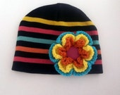 Multi Color Beanie with Big Flower