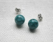 Teal Glass Earrings - Honey Comb Glass with Bubble Inclusions - Surgical steel studs with lampwork bead earrings