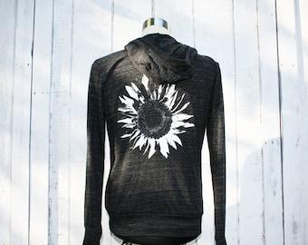 Hoodie - Sunflower - Black - Alternative Apparel - Unisex - Eco-Heather Black - Available in Small, Medium, Large, Extra Large, 2X