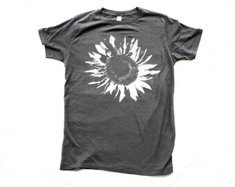 Men T-SHIRT SUNFLOWER, unisex, sunflower shirt, grey flower shirt, sunflowers - Small, Medium, Large, Extra Large, 2X