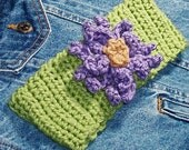Womens Fern Green Crocheted Headband with Lilac Flower
