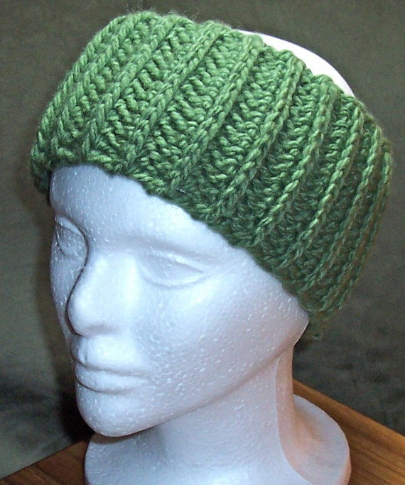 Womens Crocheted Headband in Forest Green