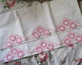 SALE...Pair of Vintage Antique Pink & White Standard Size CROCHET Lace Edges Pillowcases
