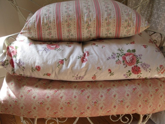 Chic & Sweet Vintage 1940's Pink Roses Ticking Feather Pillow