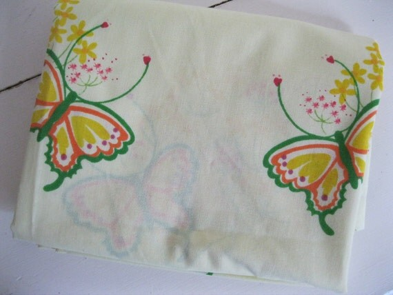 SALE...Cute Vintage 1970's Butterfly Curtain Drape Sheet Fabric
