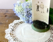 Vintage Handmade Crochet Doily with Linen Center