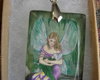Mother and Child Fairy Crystal Art Pendant by Mickie Mueller