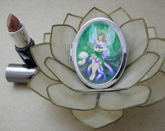 Mother and Child Fairy Compact Fantasy Art Mirror