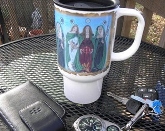 Polymer Travel Mug Fantasy Art Triple Goddess