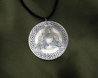 Oak, Ash, and Thorn Faerie Trees Triquetra Mother of Pearl Amulet by Mickie Mueller