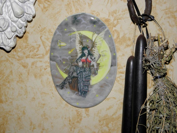 Steampunk Fairy on a Paper Moon , Oval Tile Wall Hanging by Mickie Mueller