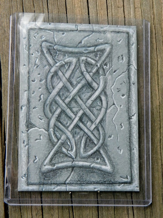 ACEO Card Lost Art from the Archives,  Unpublished Illustration, Celtic Knot in Stone Original Art OOAK by Mickie Mueller